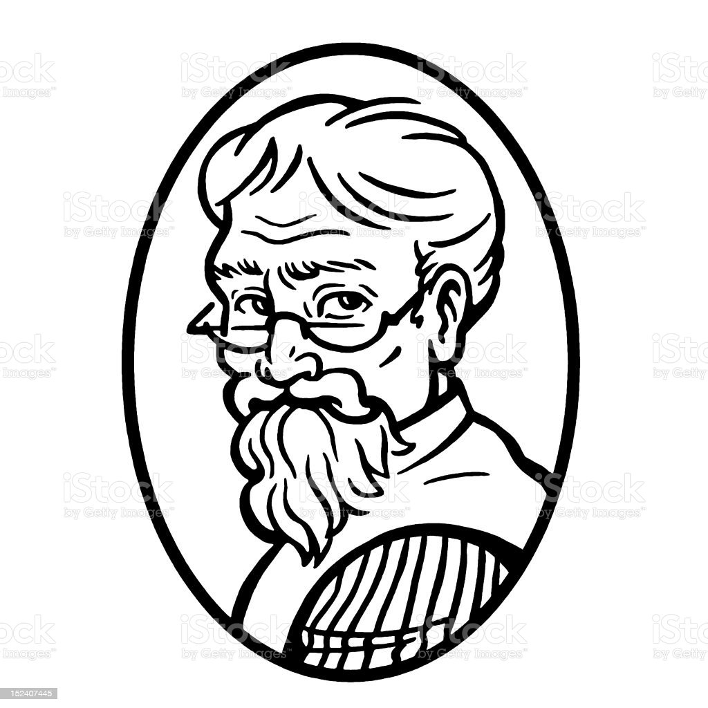 Eldery Man With Beard royalty-free stock vector art