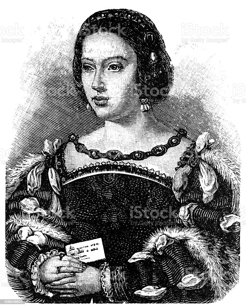 Eleanor of Austria, Queen of Portugal and France vector art illustration