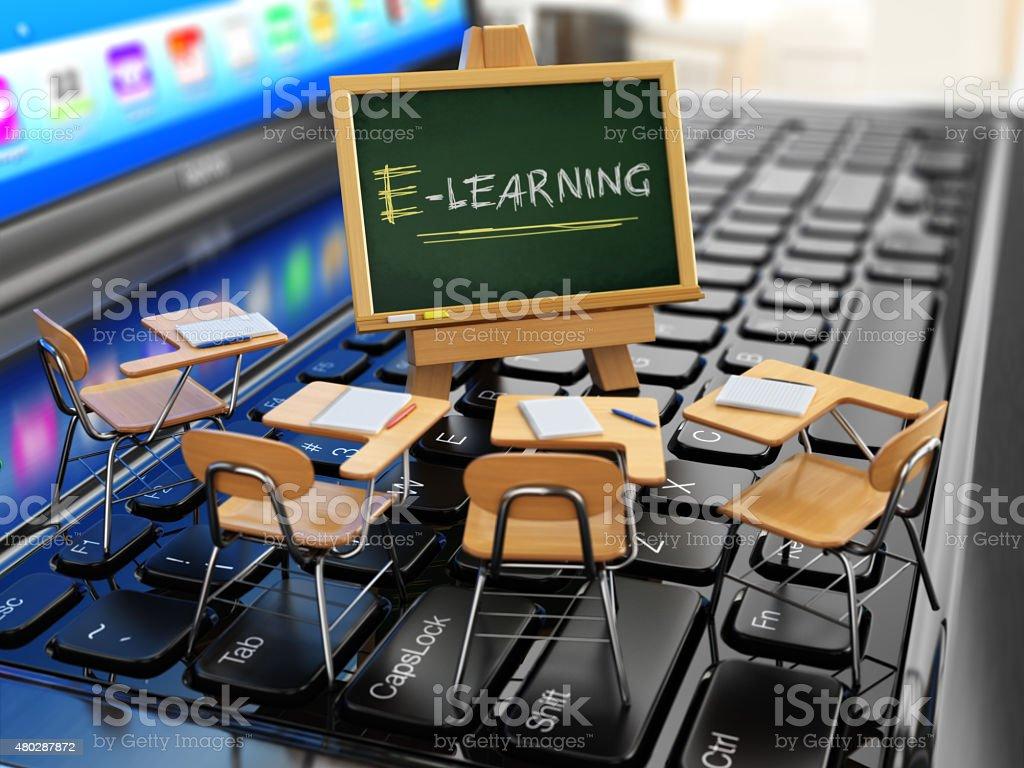 E-learning concept. Schooldesk and chalkboard on the laptop keyb vector art illustration