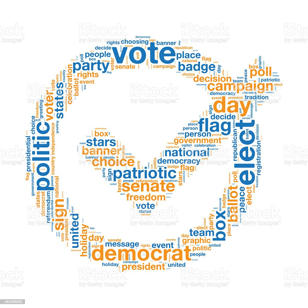 Election and Veto in Tag Cloud vector art illustration