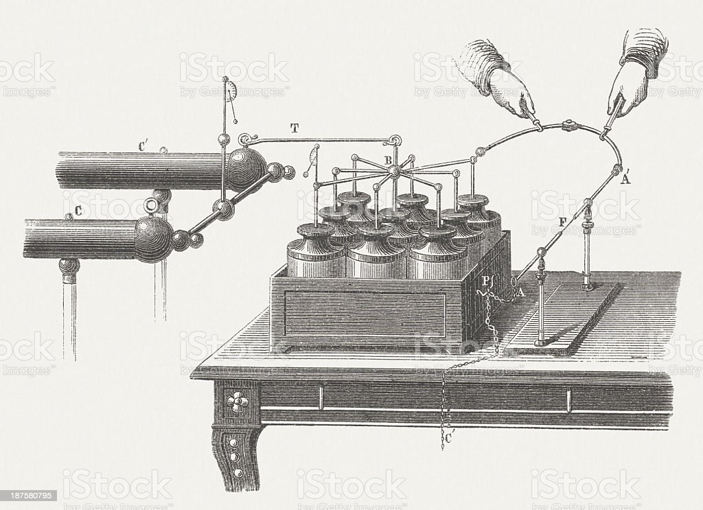 Electric Battery by Leyden Jars, wood engraving, published in 1877 vector art illustration