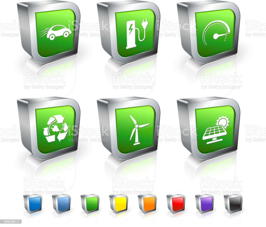 Electric Car 3D vector icon set with Metal Rim royalty-free stock vector art