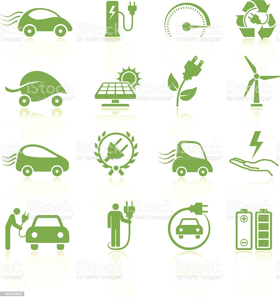 Electric car Environmental royalty free vector arts Collection vector art illustration