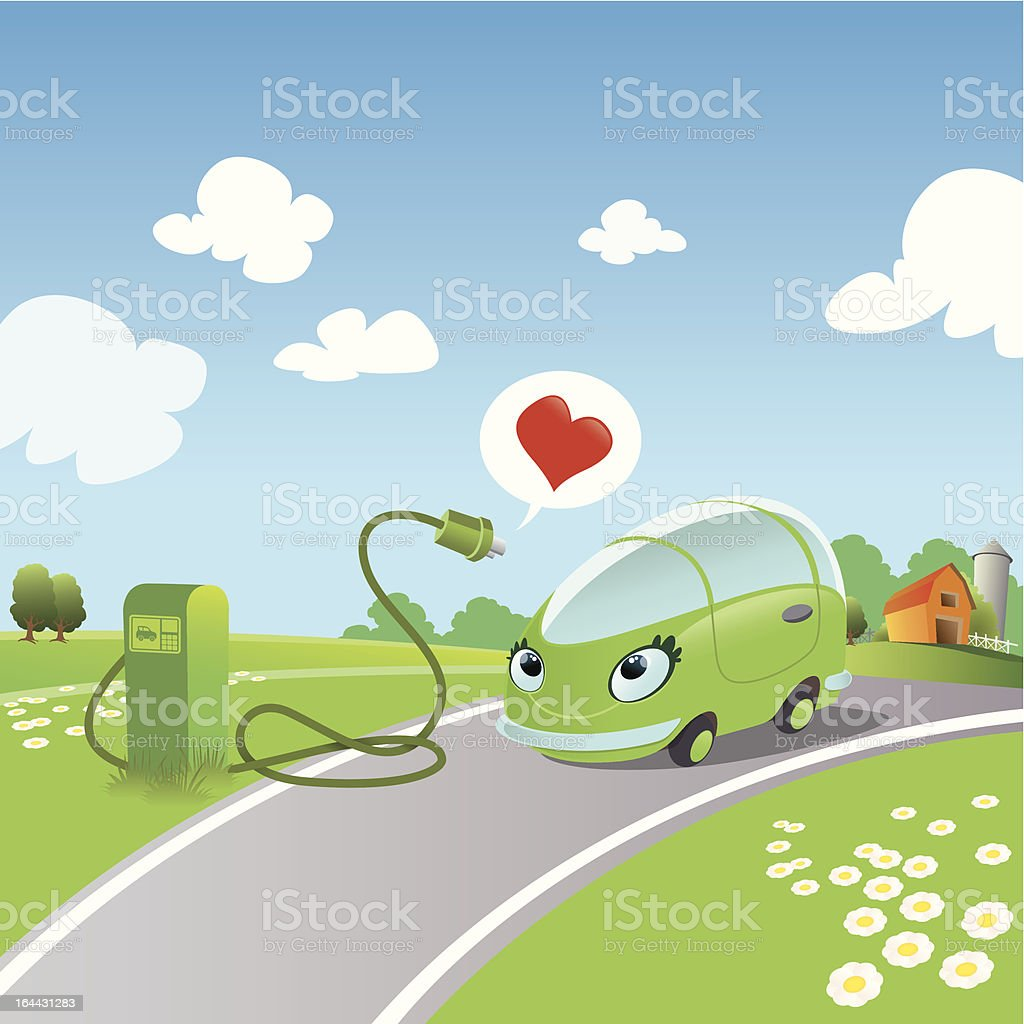 electric car vector art illustration