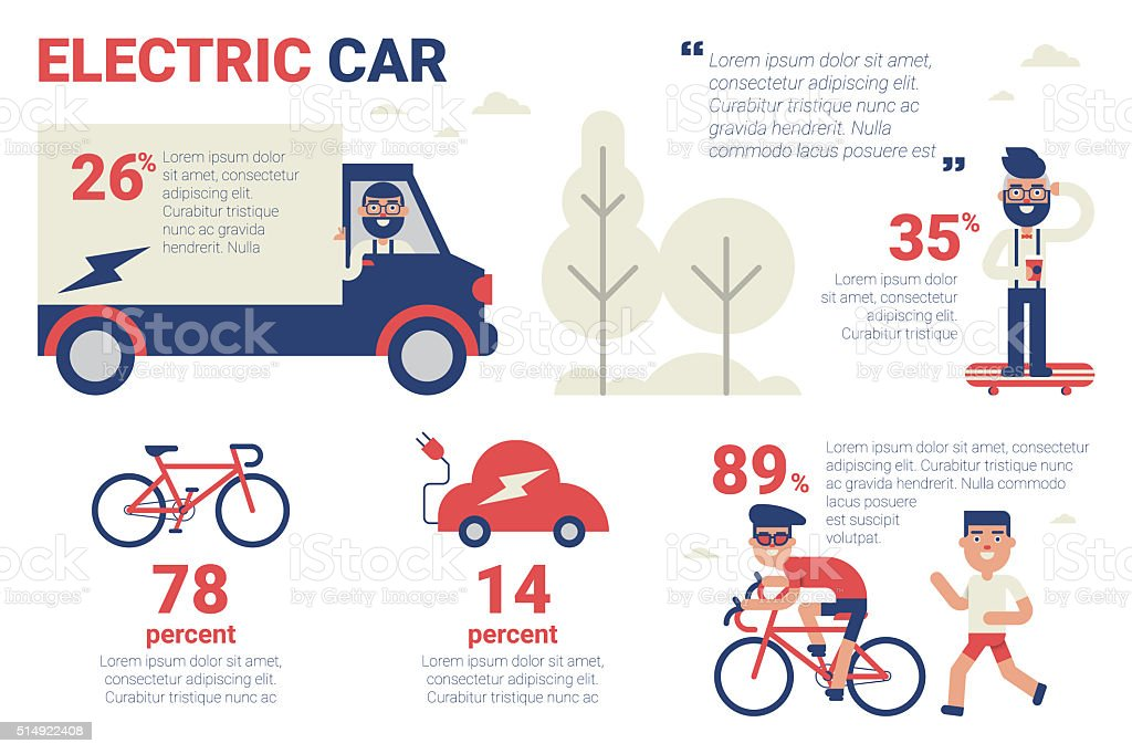 Electric car infographic vector art illustration