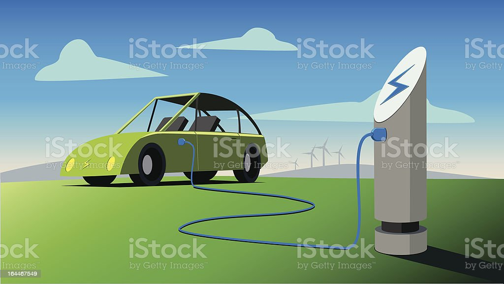 Electric Car Plugged in vector art illustration