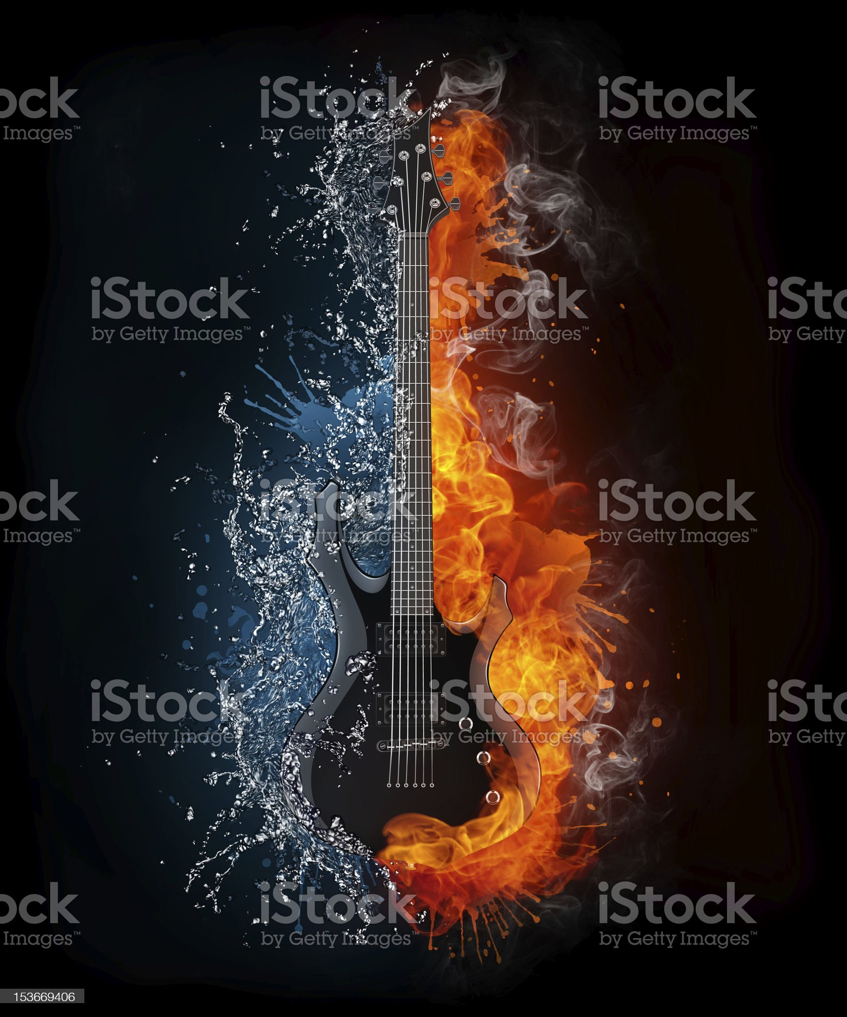 Electric guitar water and fire art royalty-free stock vector art