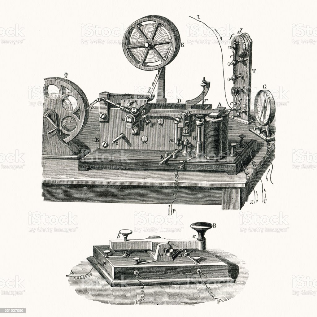 Electric Morse telegraph of 19 century vector art illustration