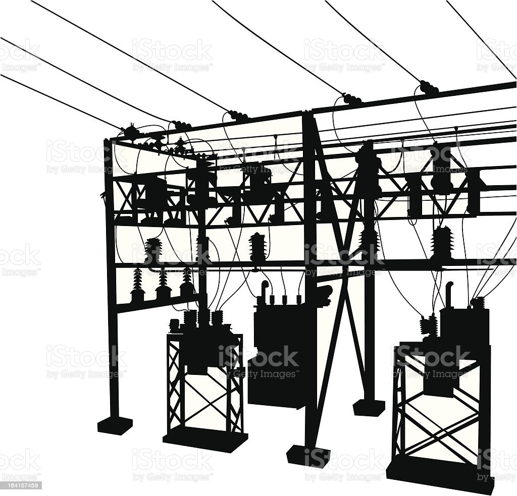 Electric Transformer Station royalty-free stock vector art