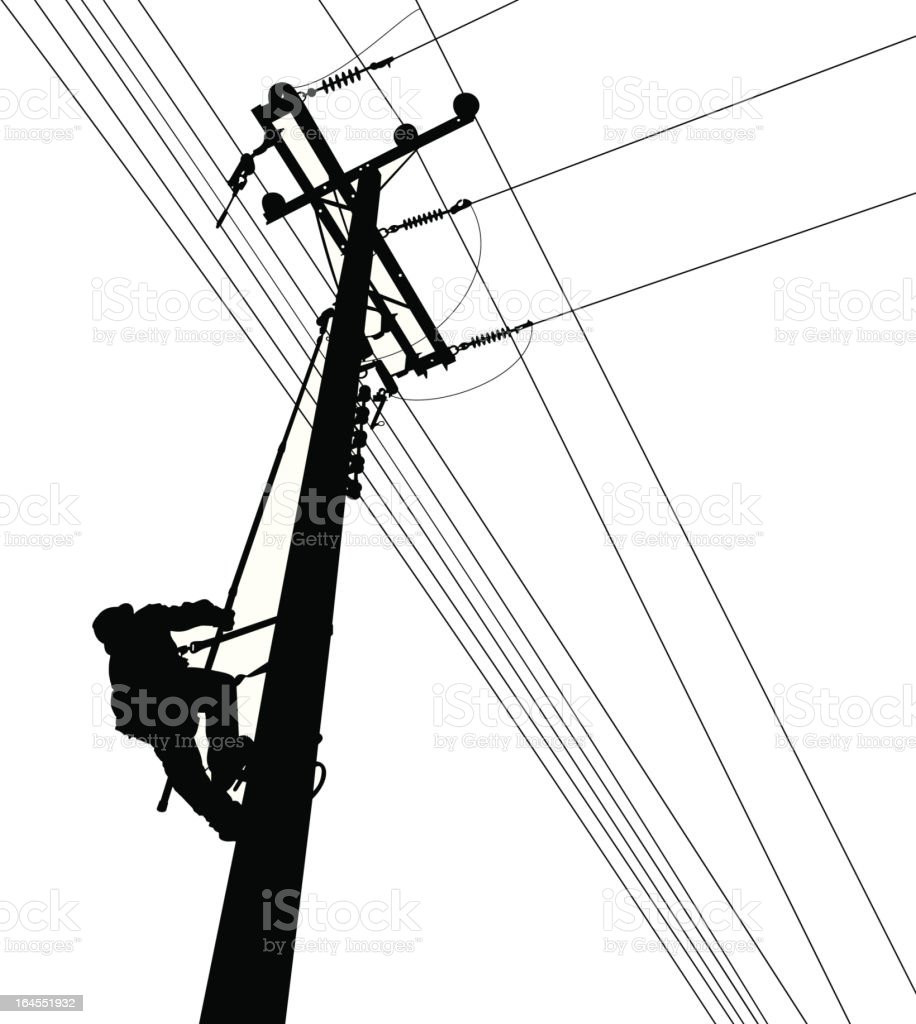 Electric Worker Climbing Silouete vector art illustration