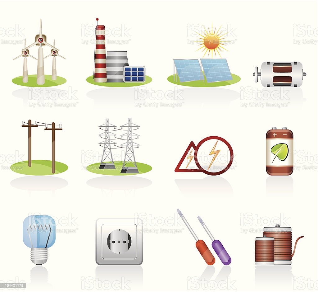 Electricity and power icons royalty-free stock vector art