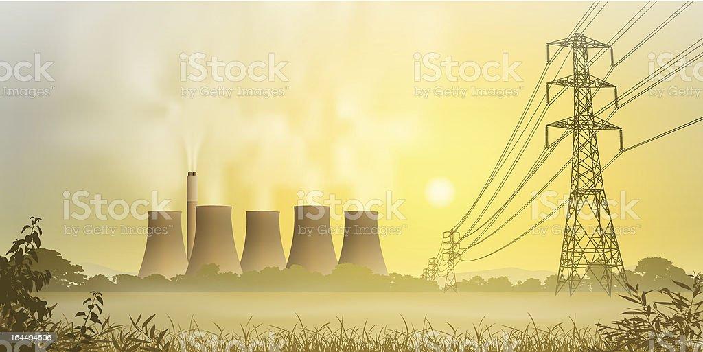 Electricity Plant vector art illustration