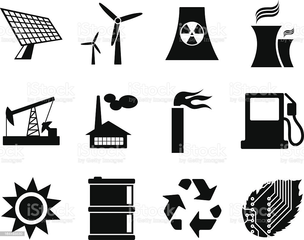 Electricity, power and energy icon set. vector art illustration