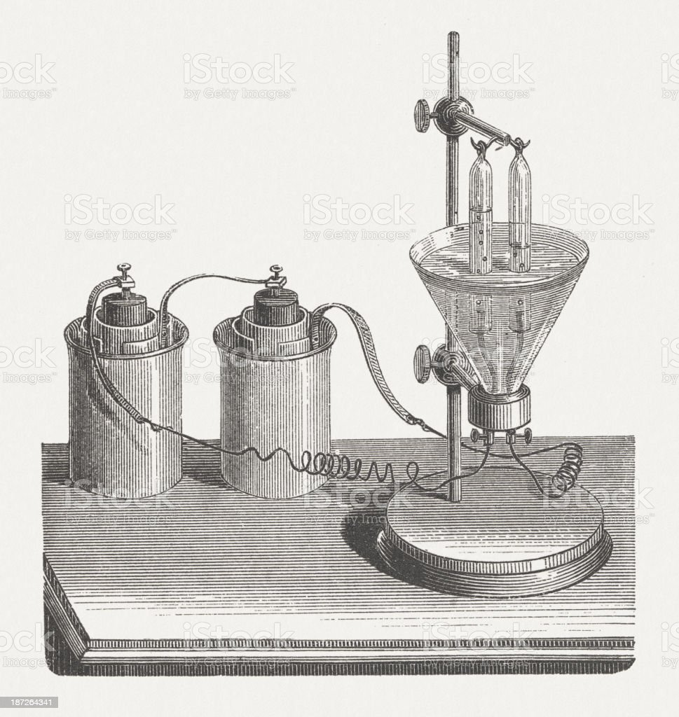Electrolysis - Decomposition of water using electrical energy, published 1877 vector art illustration