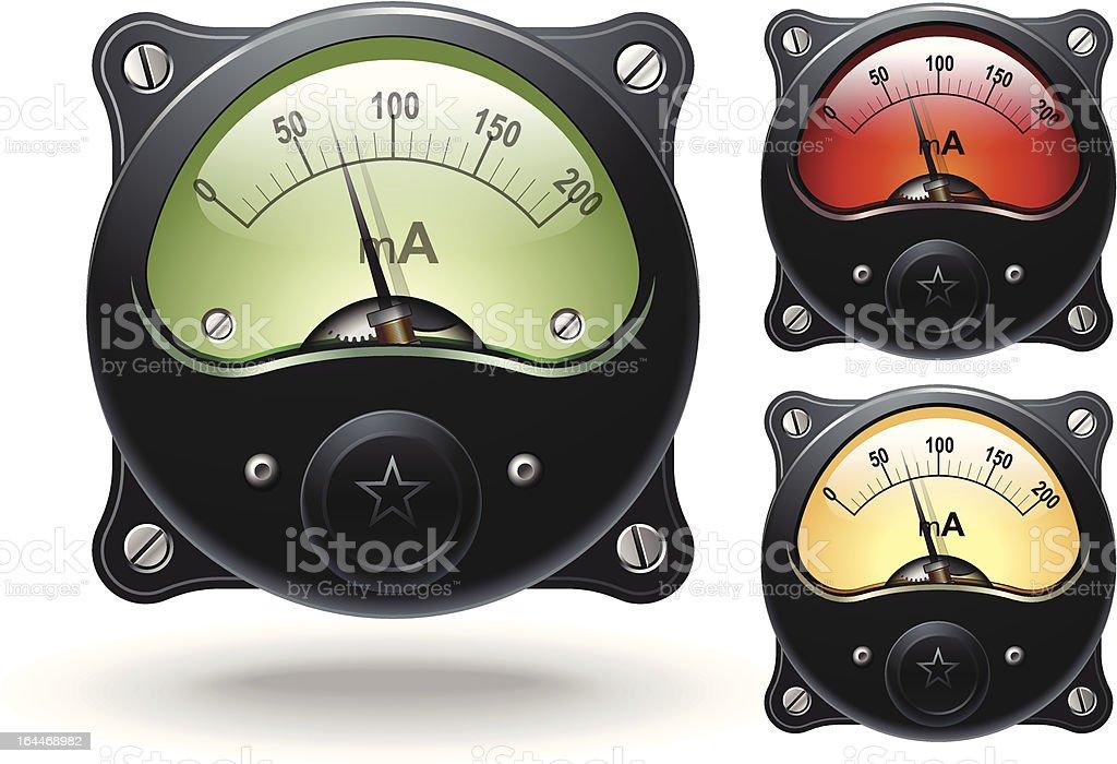 Electronic analog VU signal meters, vector vector art illustration