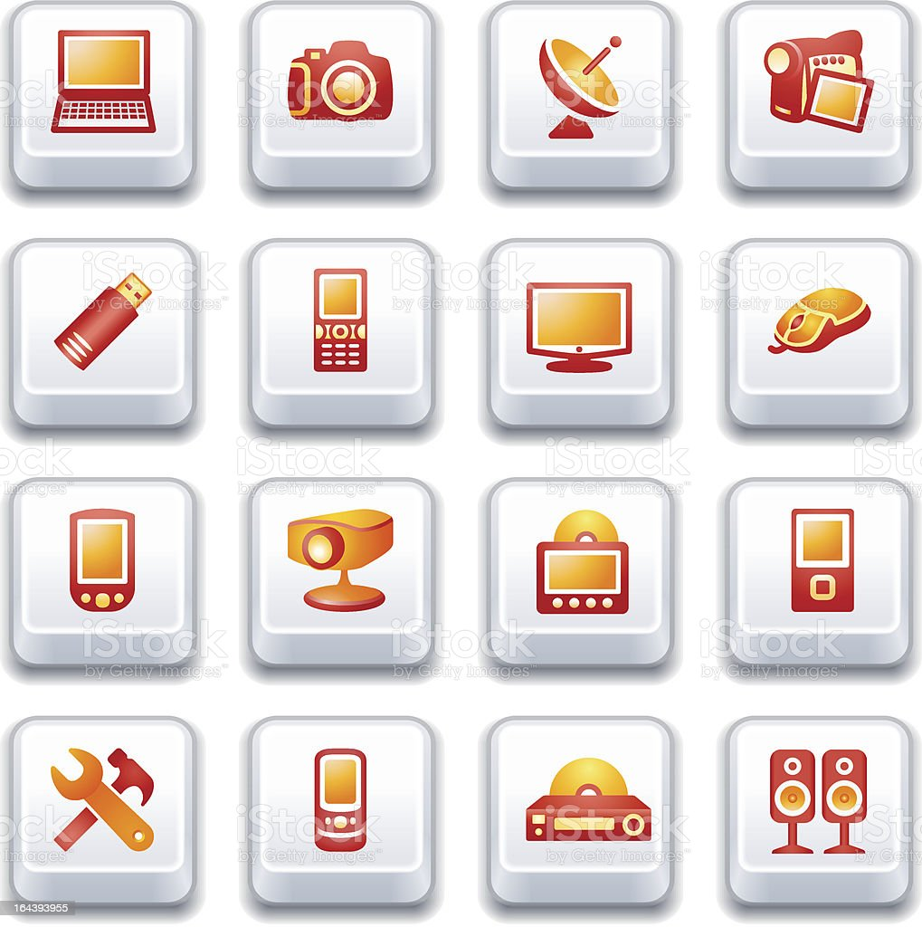 Electronics icons for web.  Red and yellow series. royalty-free stock vector art