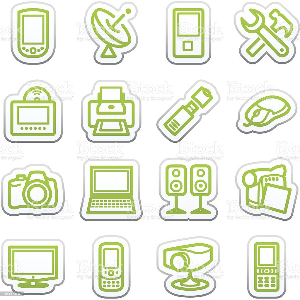 Electronics icons for web. Sticker series. royalty-free stock vector art