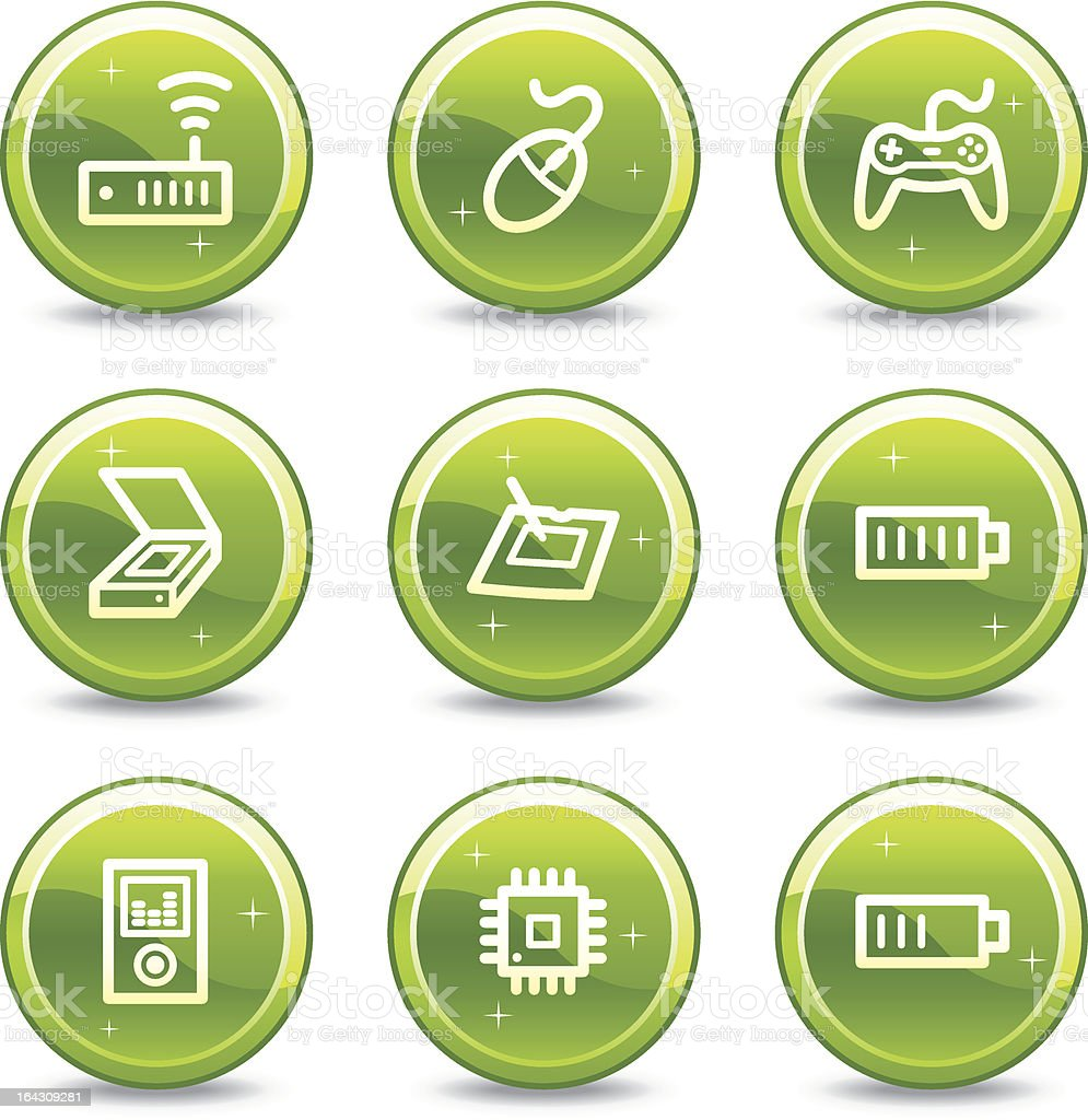 Electronics web icons, green glossy circle buttons series set 2 royalty-free stock vector art