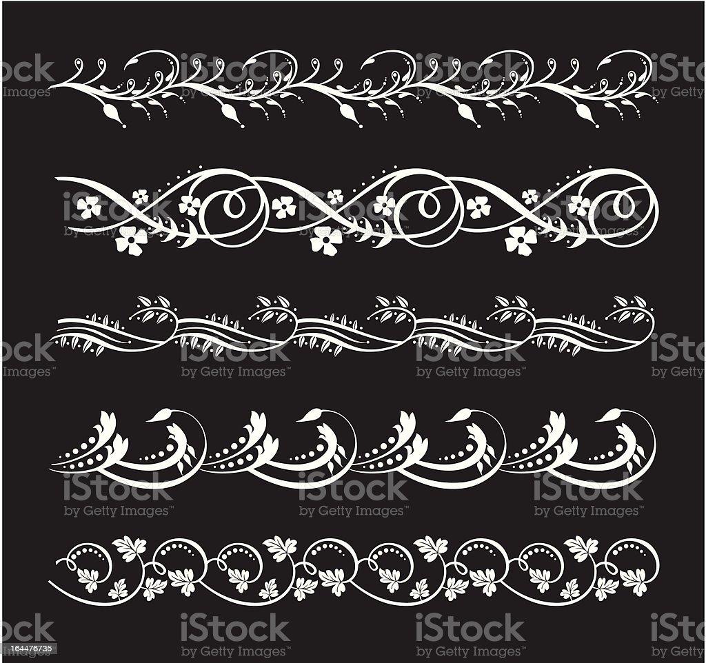 Elegant floral borders set royalty-free stock vector art
