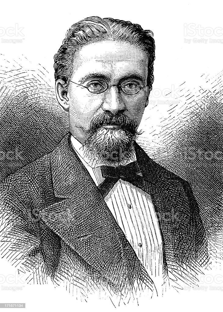 Elegant retro man from the 1800s royalty-free stock vector art