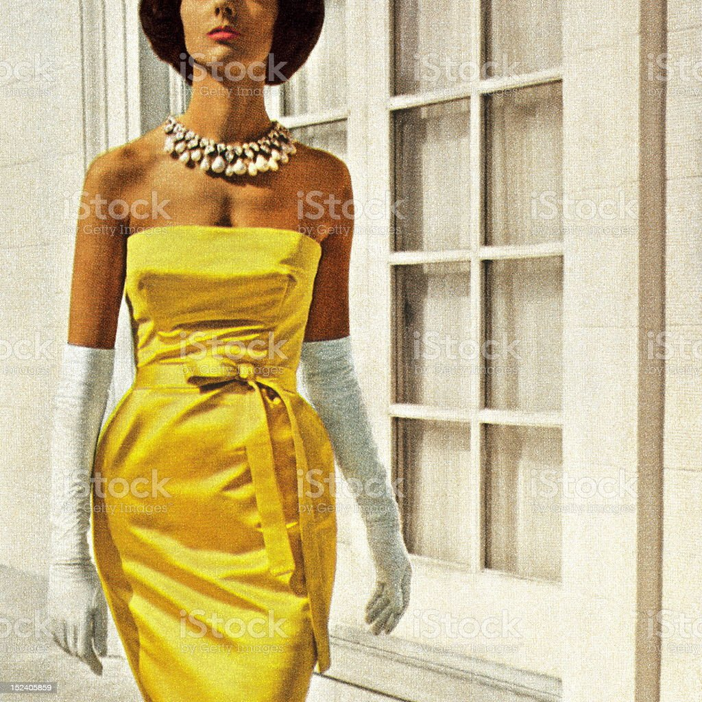 Elegant Woman Wearing Yellow Dress royalty-free stock vector art