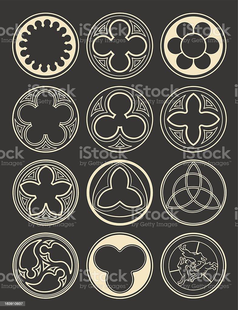 Element windows in gothic style vector art illustration