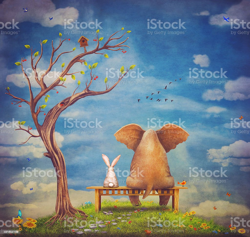 Elephant and rabbit sit on a bench on the glade vector art illustration