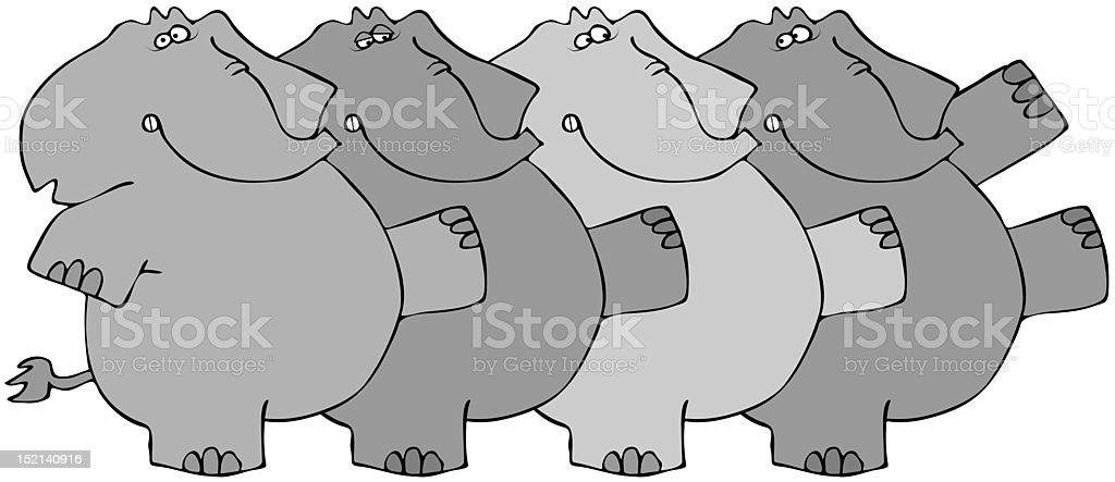 Elephant Chorus Line vector art illustration