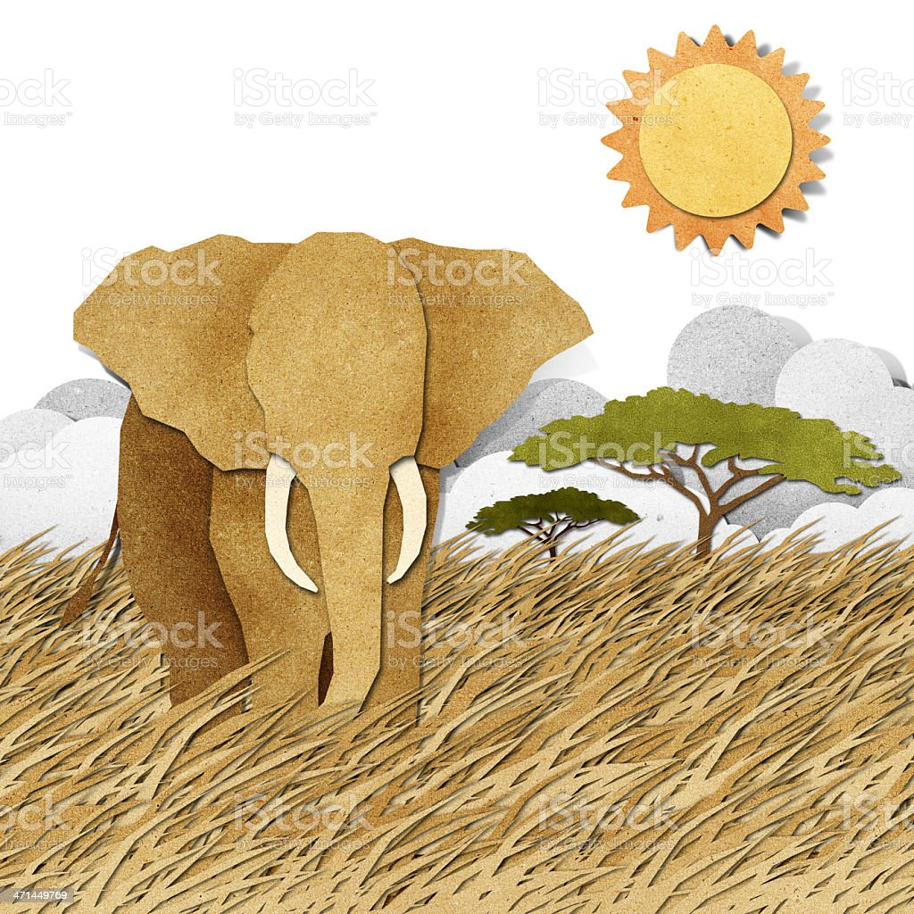 Elephant in Safari field recycled paper background royalty-free stock vector art