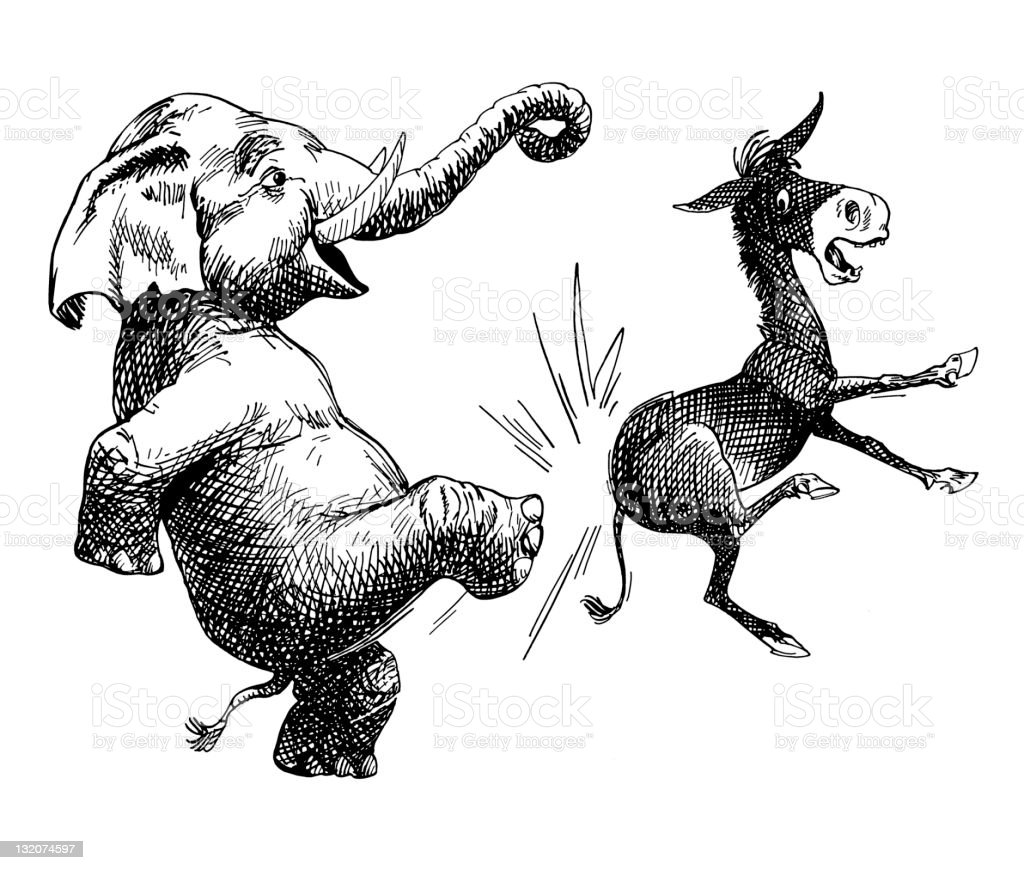 Elephant Kicking Donkey royalty-free stock vector art