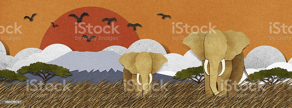 Elephant  made from recycled paper background royalty-free stock vector art