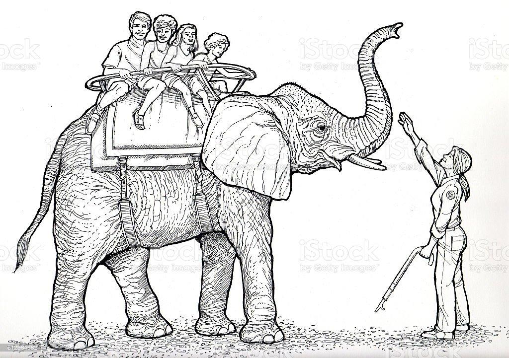 Elefantenritt Lizenzfreies vektor illustration