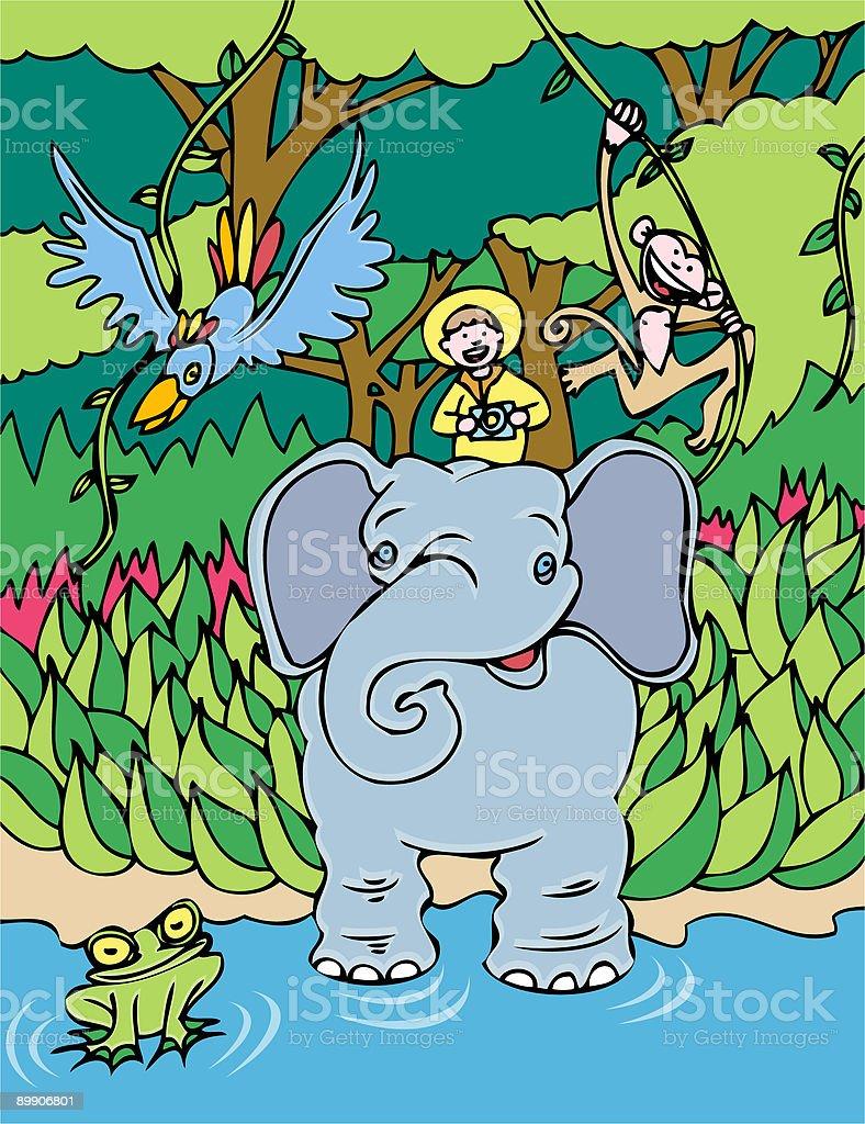 Elephant Ride royalty-free stock vector art