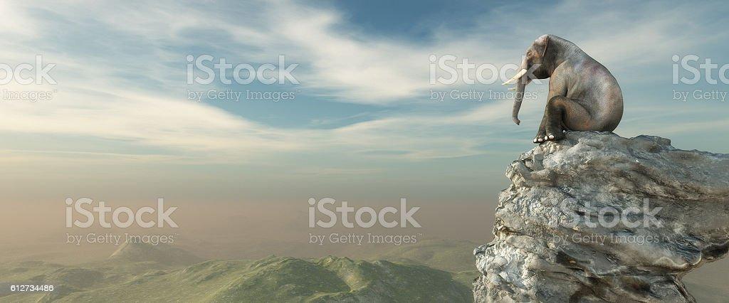 Elephant sitting on edge vector art illustration