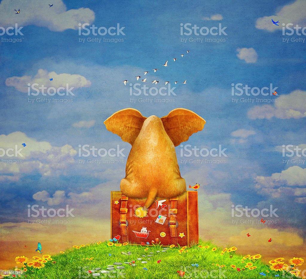 Elephant  sitting on the suitcase on  the glade vector art illustration