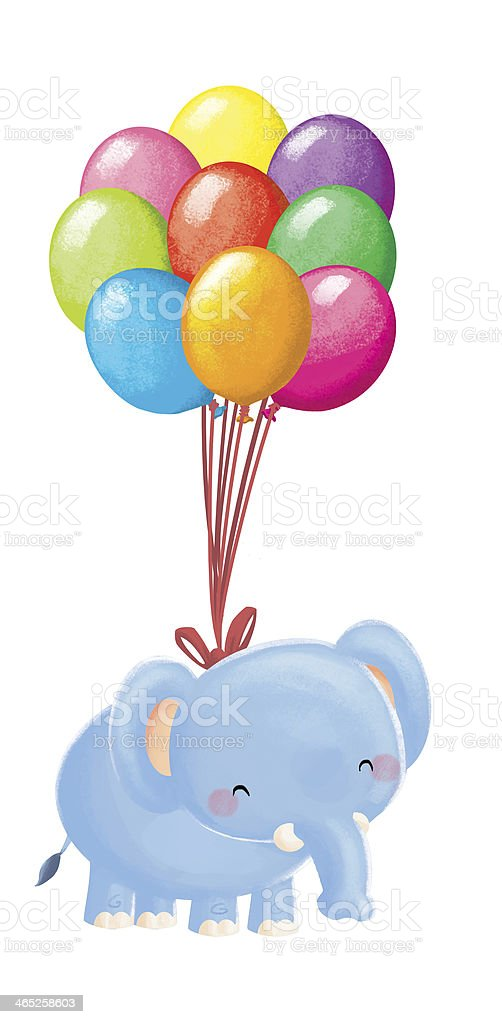 Elephant with Balloons royalty-free stock vector art