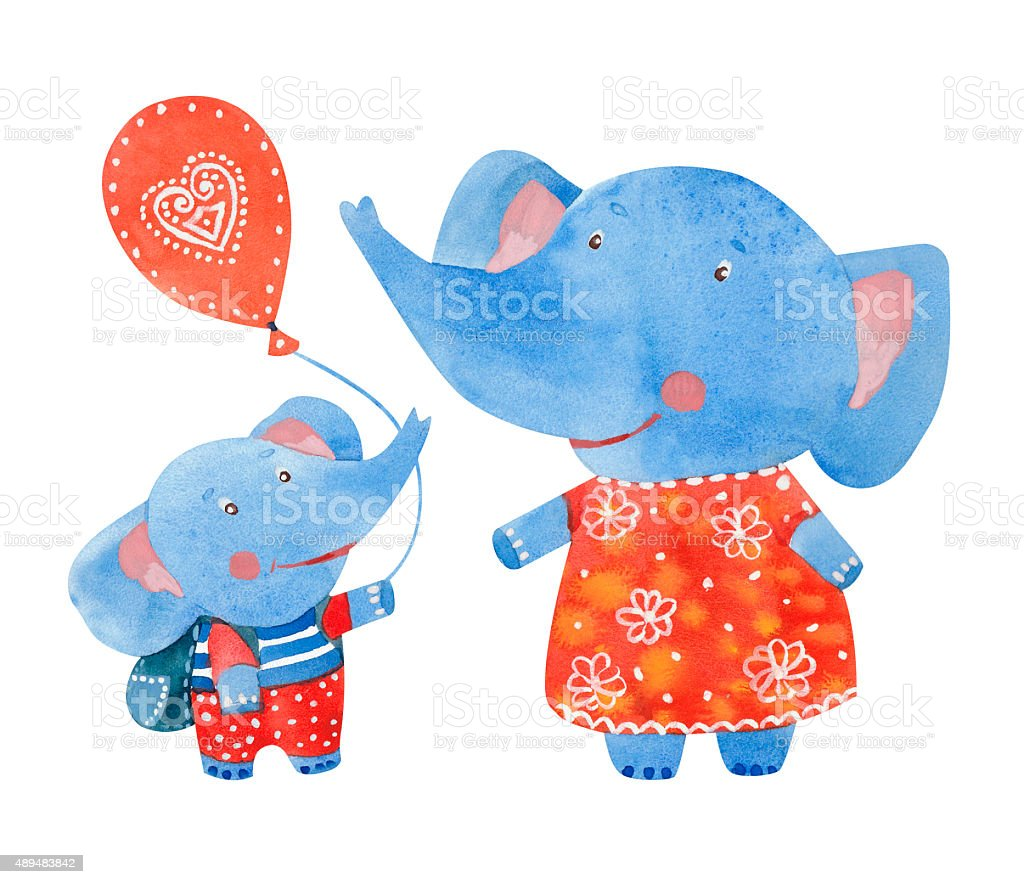 Elephants family vector art illustration