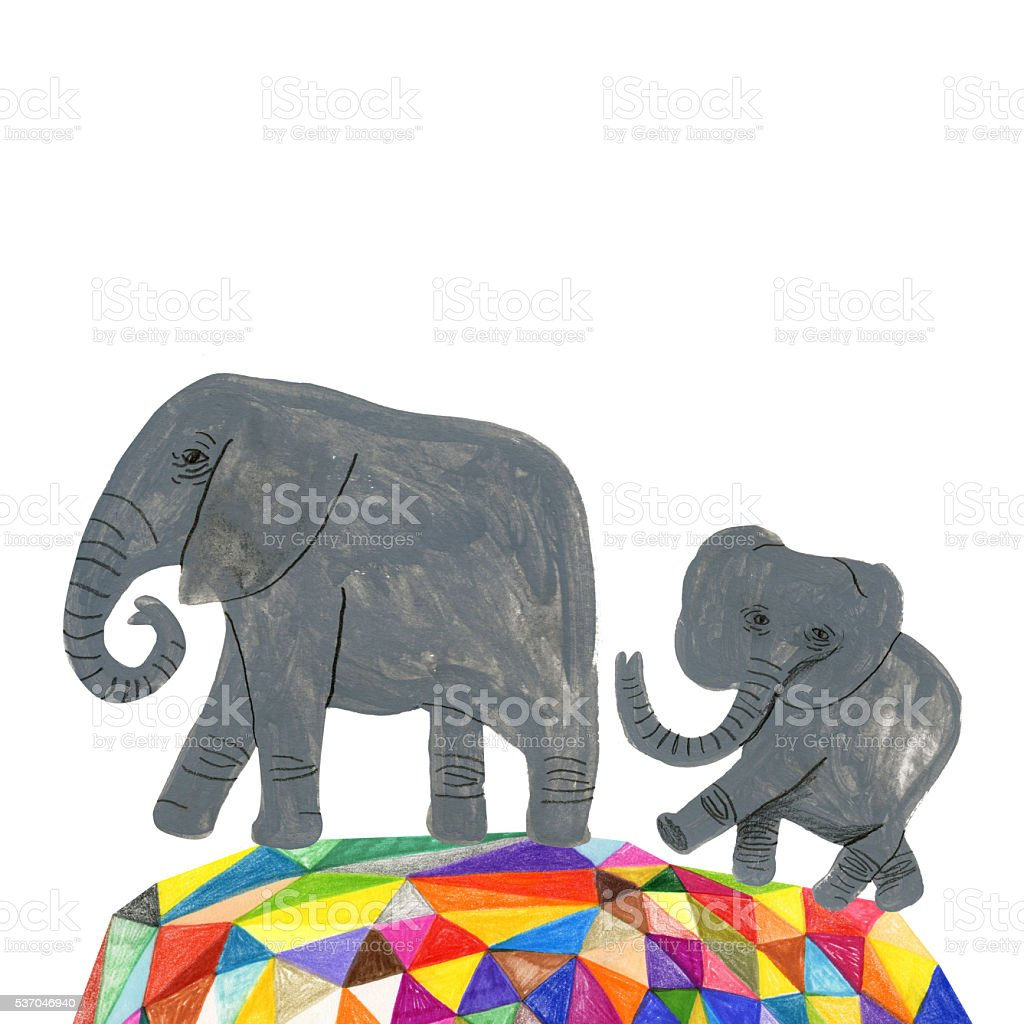Elephants vector art illustration