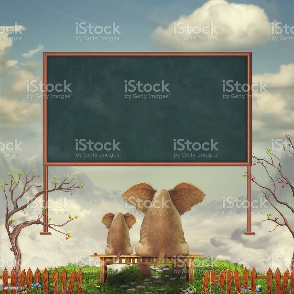 Elephants on a bench in the field vector art illustration