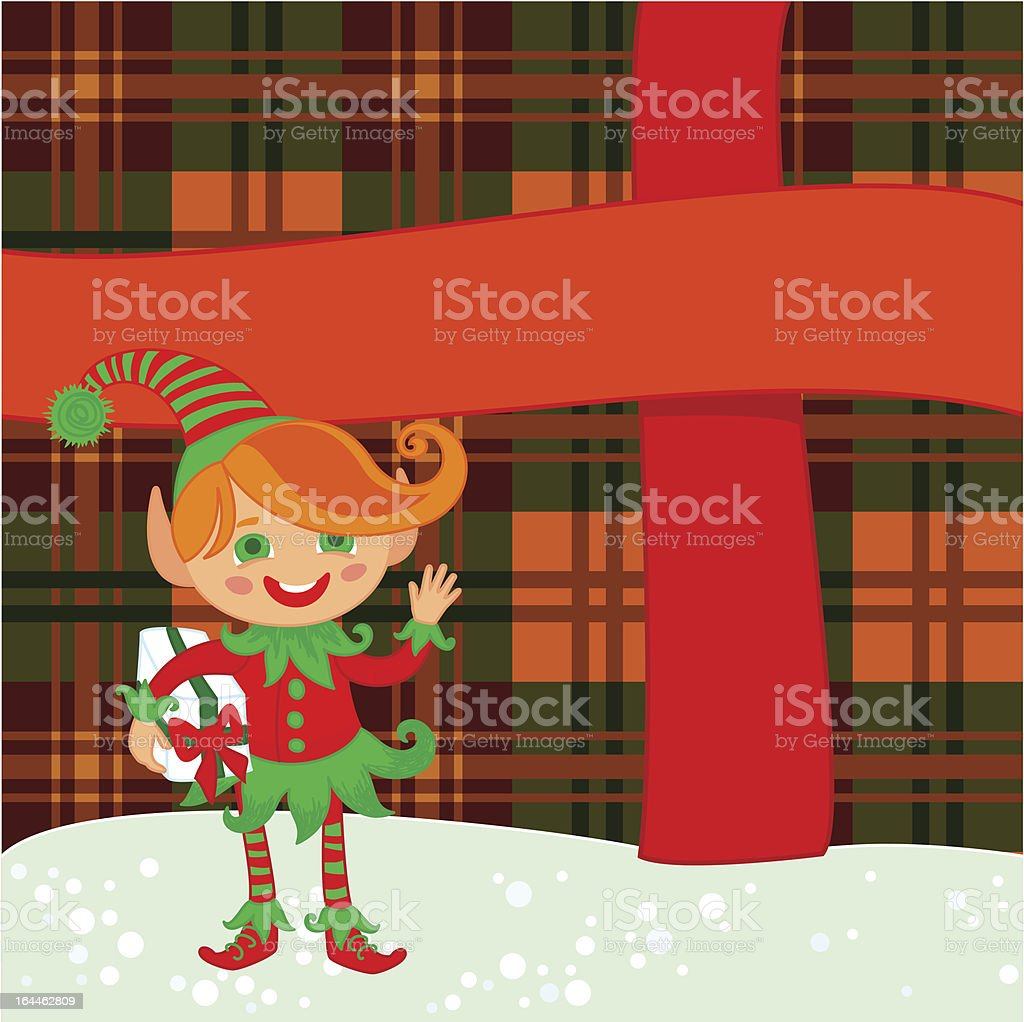 Elf and big present royalty-free stock vector art