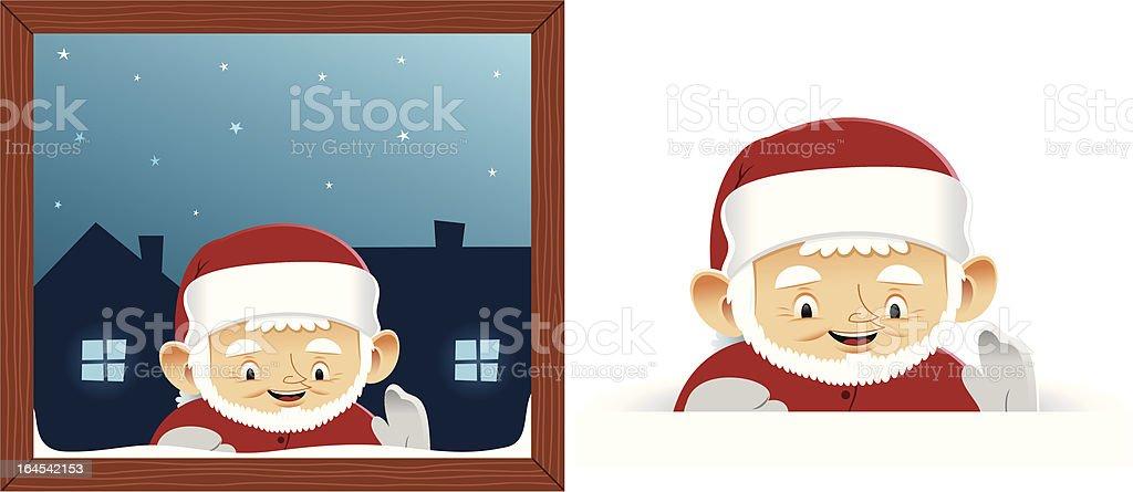 Elf smiling behind the window vector art illustration