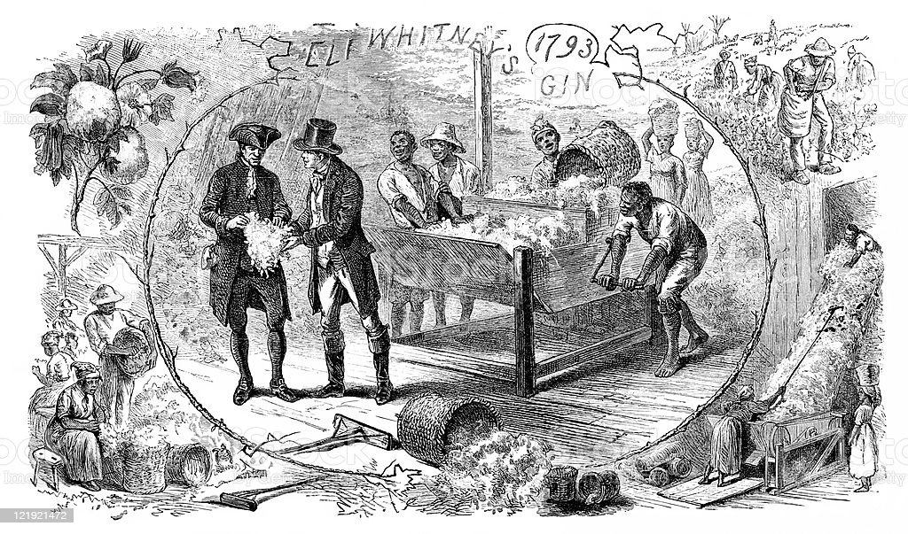 Eli Whitney's Cotton Gin Invention in Antique Illustration vector art illustration