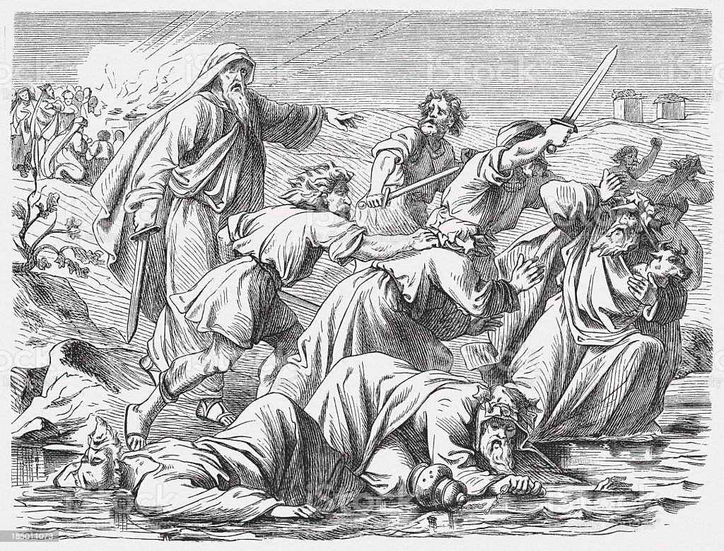 Elijah kills the Baal's Prophets (1 Kings 18), published 1877 vector art illustration