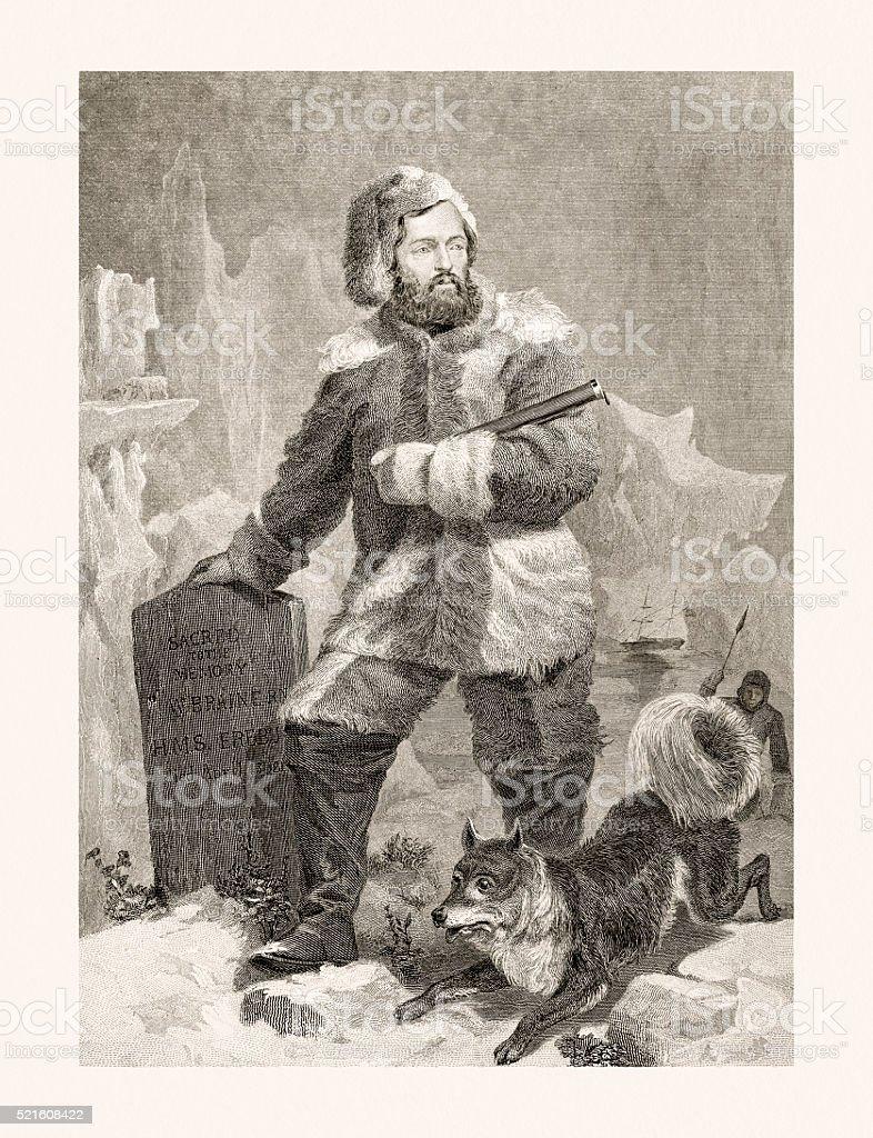 Elisha Kent Kane, 19 century portrait vector art illustration