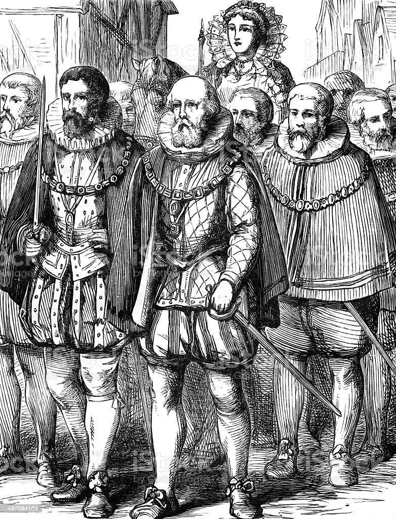 Elizabeth I entry into London vector art illustration
