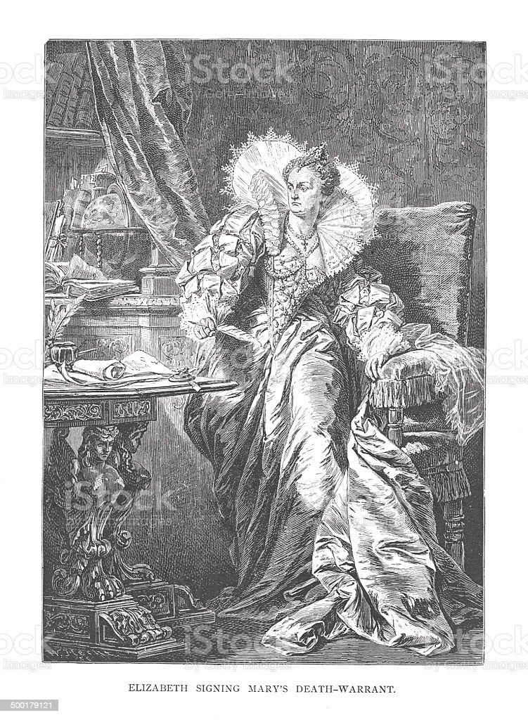 Elizabeth signing Mary's Death Warrant (antique engraving) vector art illustration