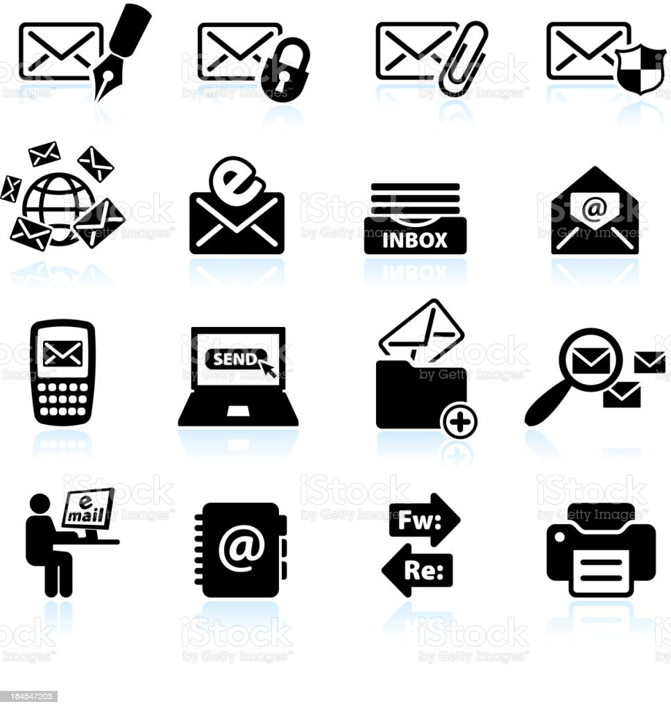 email communication black & white royalty free vector icon set royalty-free stock vector art