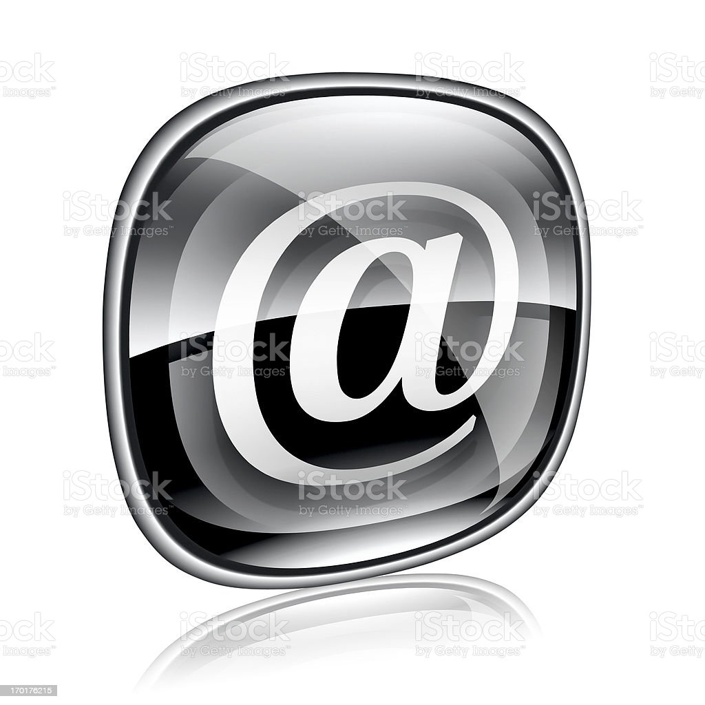 email icon black glass, isolated on white background. royalty-free stock vector art