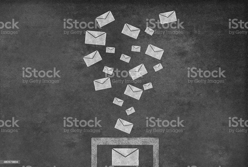 Emails on a blackboard vector art illustration