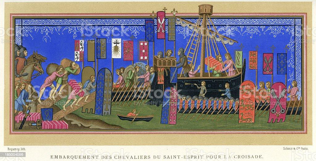 Embarkation of the Crusader Knights vector art illustration